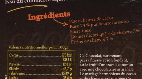 Indications nutritionnelles du Chocolat noir au Chanvre