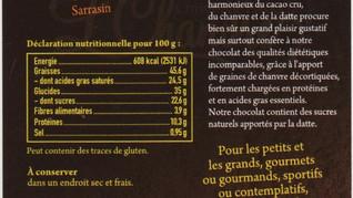 Indications nutritionnelles du CHO'C'ÔDATTE