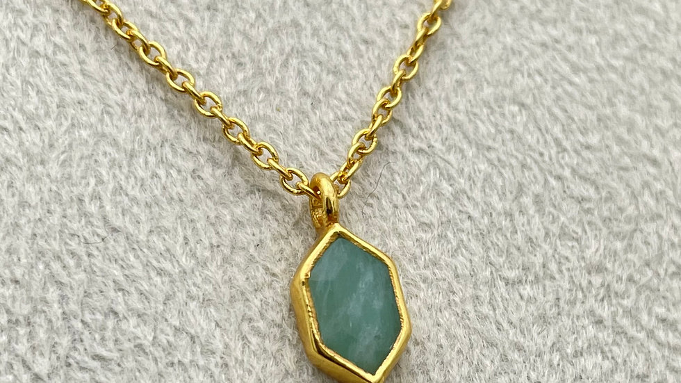 COLLANA AMAZONITE DIAMOND DOT