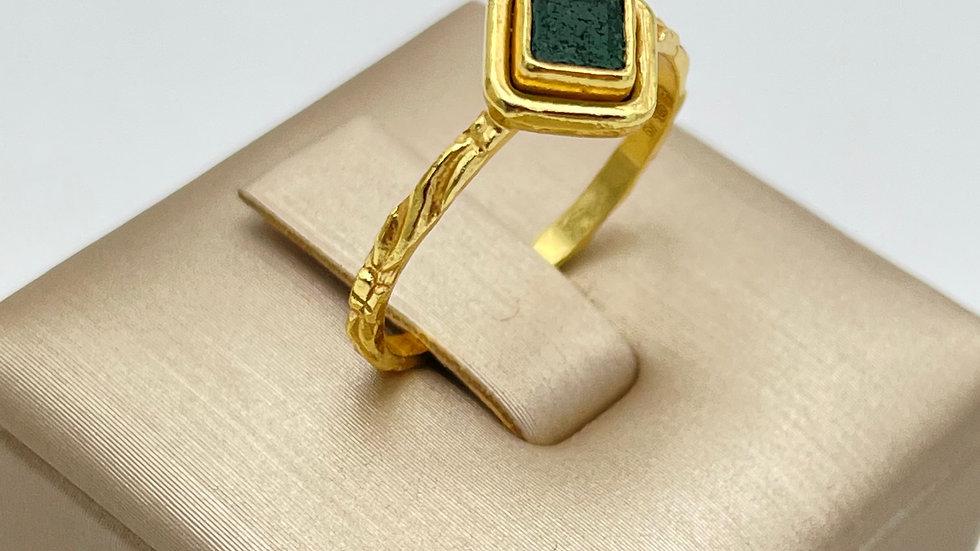 ANELLO GREEN AGATE DIAMOND