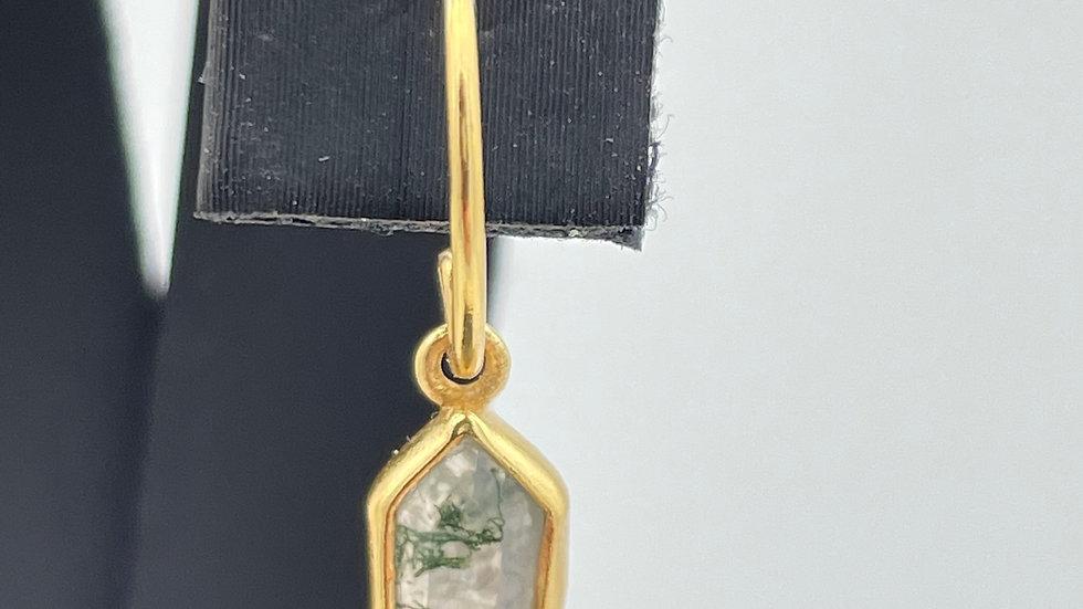 ORECCHINI DIAMOND DOT MOSS AGATE