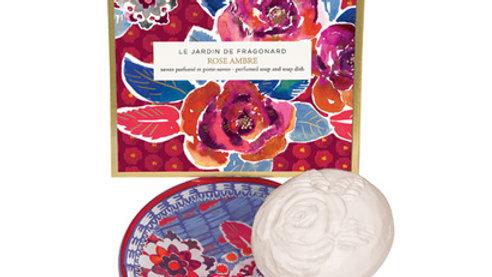 SAPONE ROSA-AMBRA 150 g + PORTASAPONE 13 cm