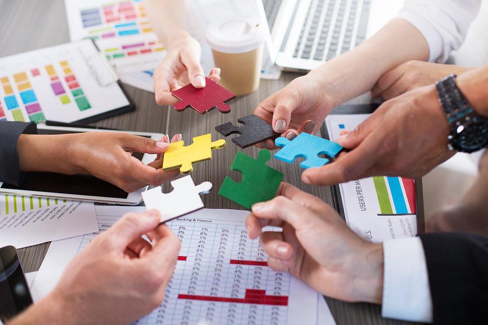 Teamwork of partners. Concept of integra