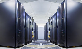 symmetrical data center room with rows o