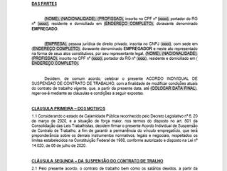 Para download: ACORDO INDIVIDUAL DE SUSPENSÃO DE CONTRATO DE TRABALHO