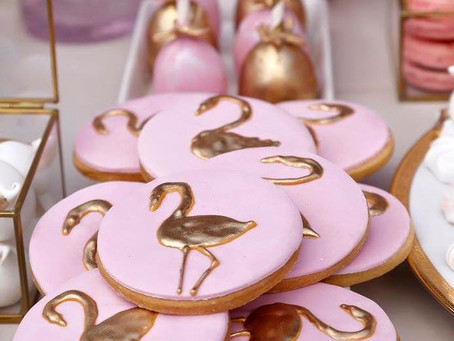 Pink Gold Flamingos