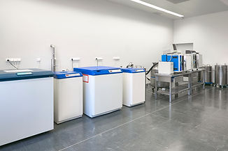 Hospital cryo fridges freezer area. Tran