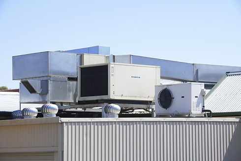 Air conditioning on industrial site roof