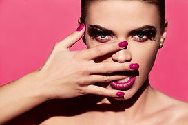 Bright Manicure and Lipstick improved beauty