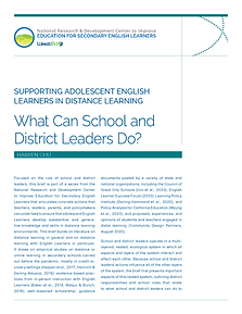 What Can School and District Leaders Do