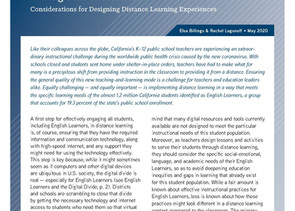 Supporting English Learners During School Closures Considerations for Designing Distance Learning Ex