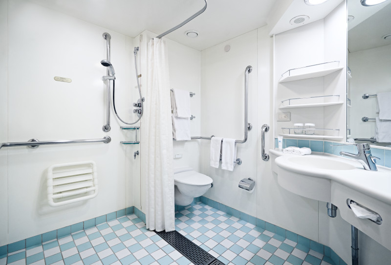Mobility accessible bathroom on ship with roll-in shower, fold-down bench, grab bars on cruise ship