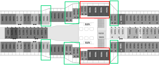 black and white deck plan with green and red rectangles surrounding some cabin locations