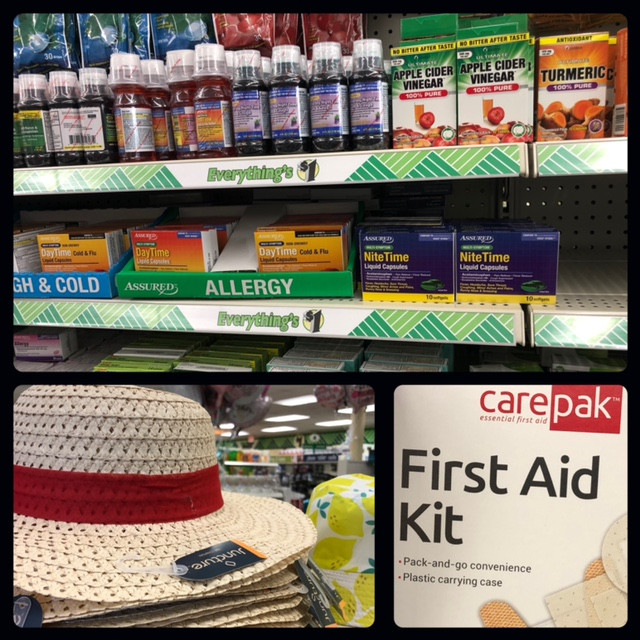 collage with various medication packages, sun hats, first aid kit