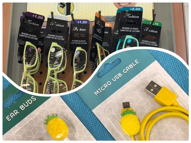 row of yellow and blue reading glasses, pineapple ear buds and USB cable