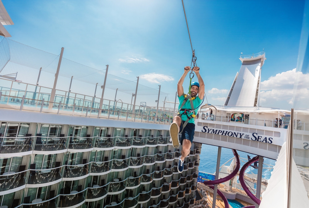 Man ziplining on a cruise ship