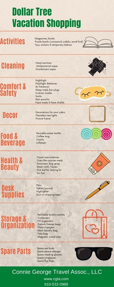 infographic of travel packing items that can be purchased at dollar tree