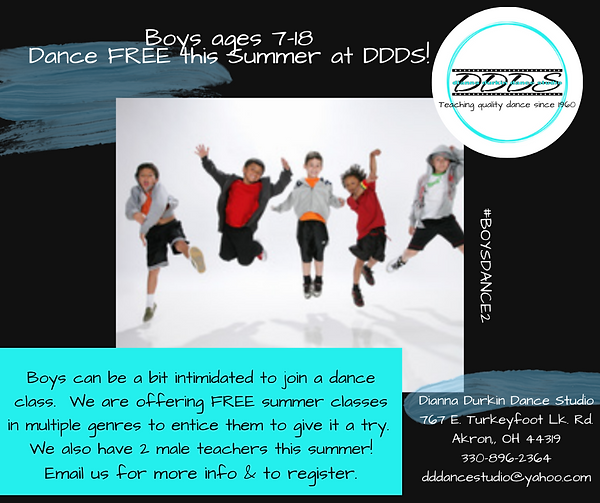 Boys ages 7-18 dance FREE this summer at