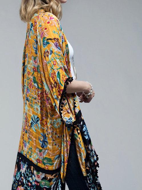 Kimono with pom pom tassel