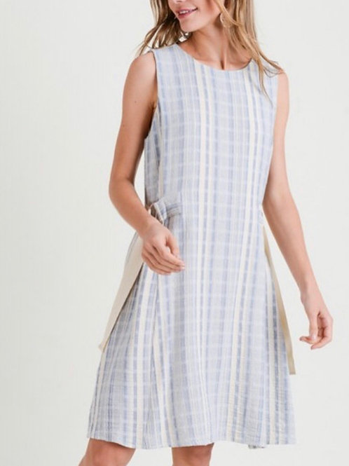 Shift dress with side tie detail