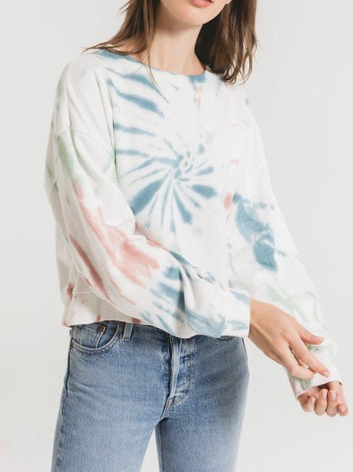 Multicolor tie dye pullover