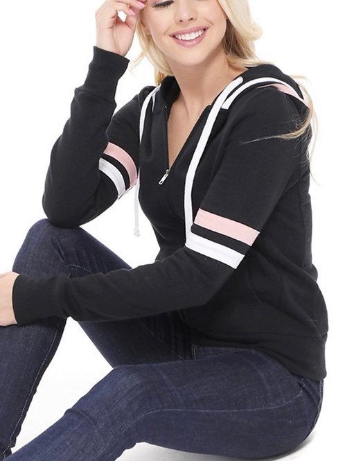Striped zip up hoodie- Black