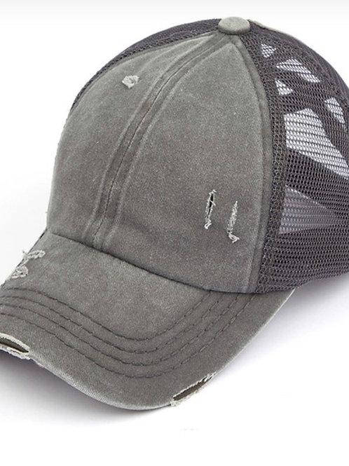 Pony tail trucker hat