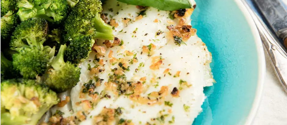 Broiled/Grilled Fish With Toasted Garlic Broccoli Recipe