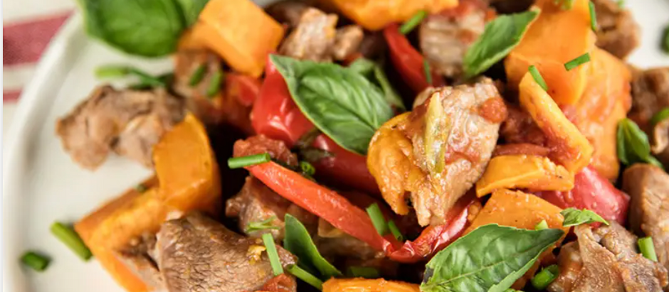 Lamb Stew With Roasted Capsicum And Sweet Potatoes
