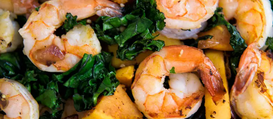 Prawn, Sweet Potato And Kale Bowl