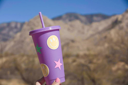 24 OZ Smiley Face and Star Tumbler