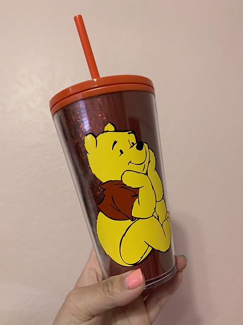 Winnie the Pooh Red Glitter Cup Starbucks Tumbler