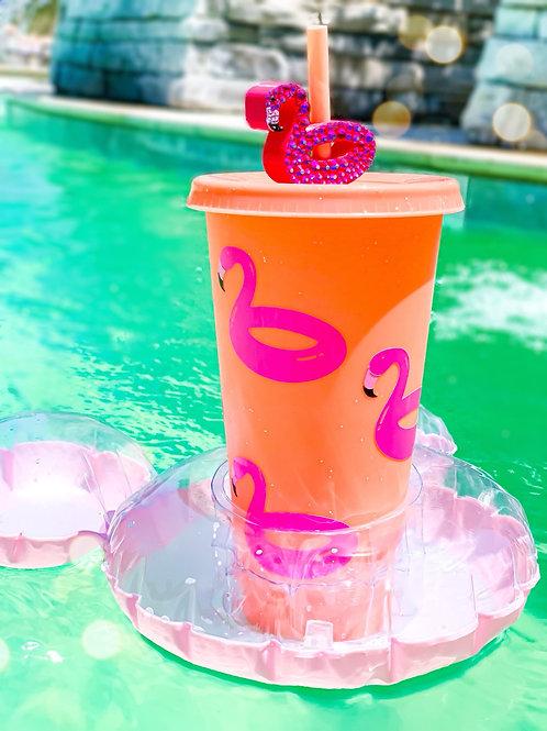 Flamingo Floaty Rhinestone Topper/ Cup