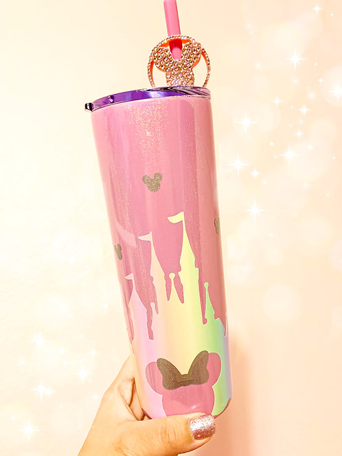 Balloon Topper and Pastel Castle Stainless Steel Tumbler