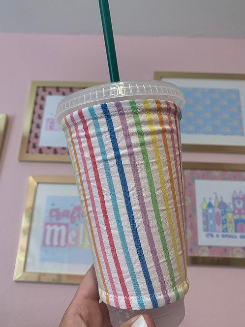 Rainbow Seersucker Starbucks Cup Sleeve