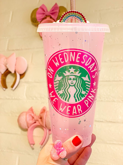 Pink Glitter Mean Girls Color changing  Starbucks Tumbler