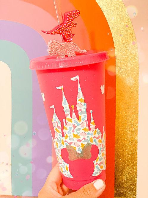 Pink Dino Glitter Tumbler