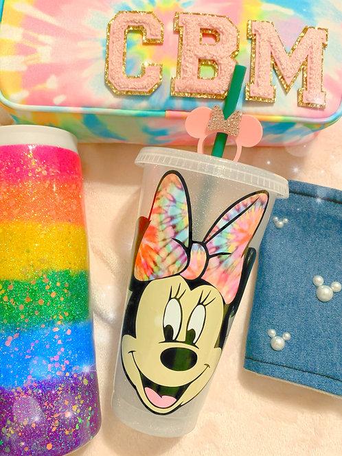 Minnie Tie Dye Glitter/ non-glitter Starbucks Tumbler