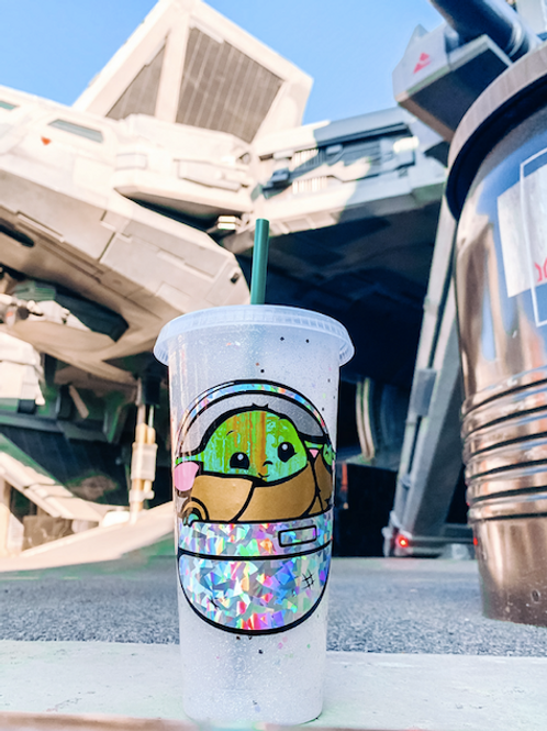 Glitter Baby Yoda Starbucks Tumbler