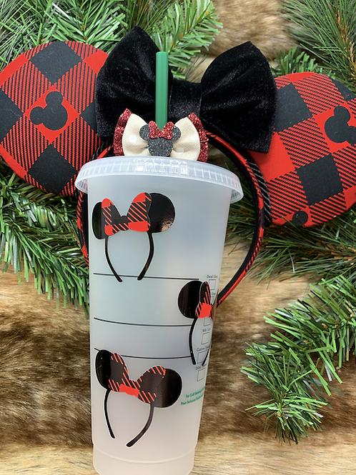 Buffalo Plaid Minnie Ears Starbucks Tumbler