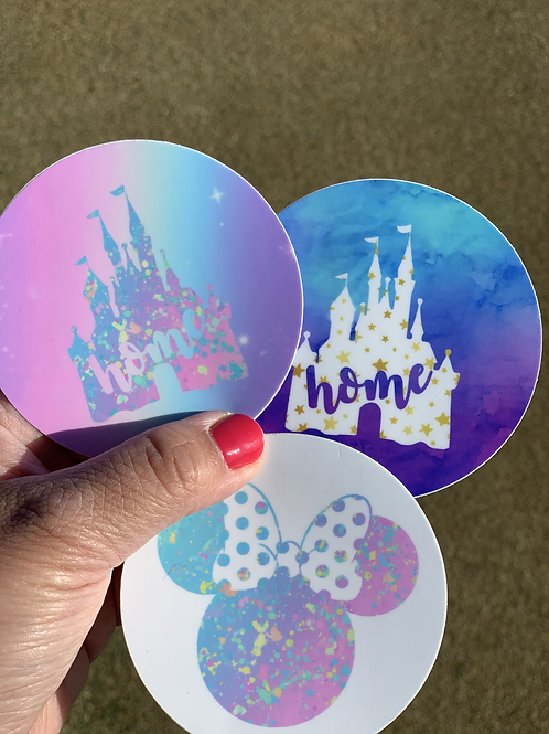 Home and Minnie Mouse Watercolor Stickers