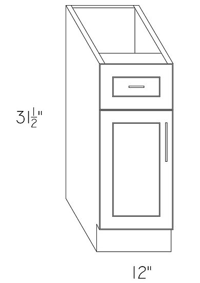 "VB12 - Vanity Cabinet 12"" 1 Drawer 1 Door"