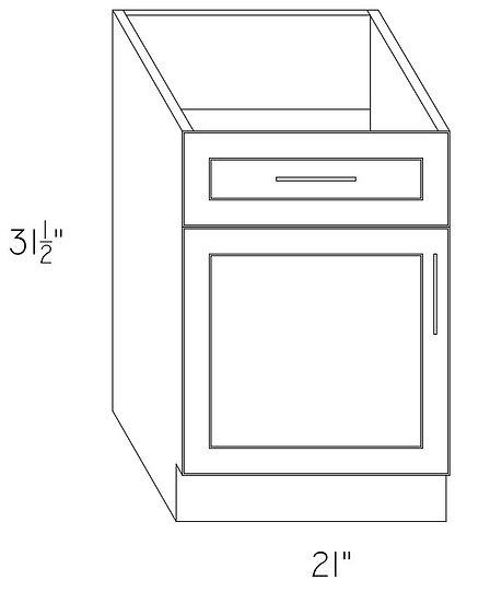 "VB21 - Vanity Cabinet 21"" 1 Drawer 1 Door"