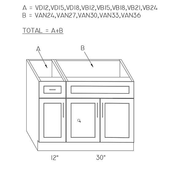 Combination 2 Vanity Cabinets (VD12+VAN30)