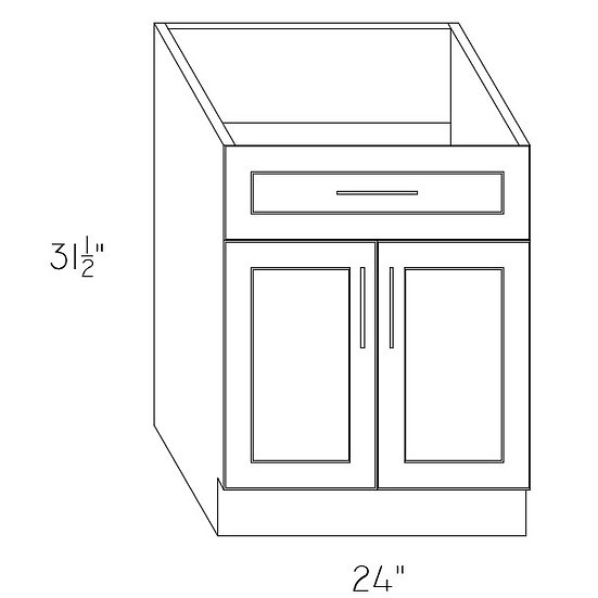 "VB24 - Vanity Cabinet 24"" 1 Drawer 2 Doors"