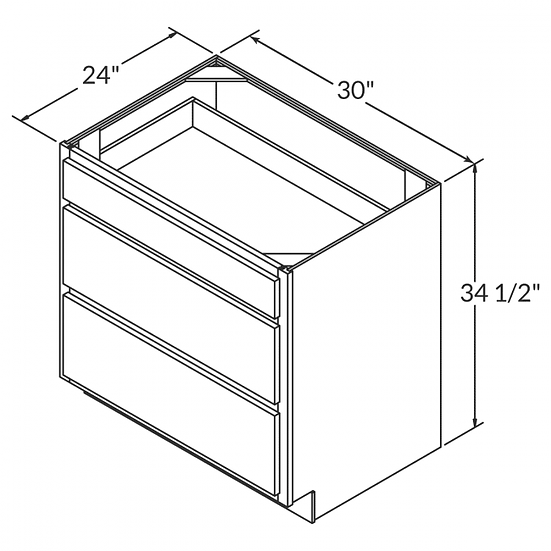 "DB30 - 3 Drawers Cabinets 30"" W"
