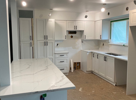 White shaker Cabinets + AVQ9990 Quartz countertops finish in a week. @ Pitt Meadows. On Saturday mor