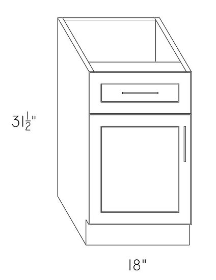 "VB18 - Vanity Cabinet 18"" 1 Drawer 1 Door"