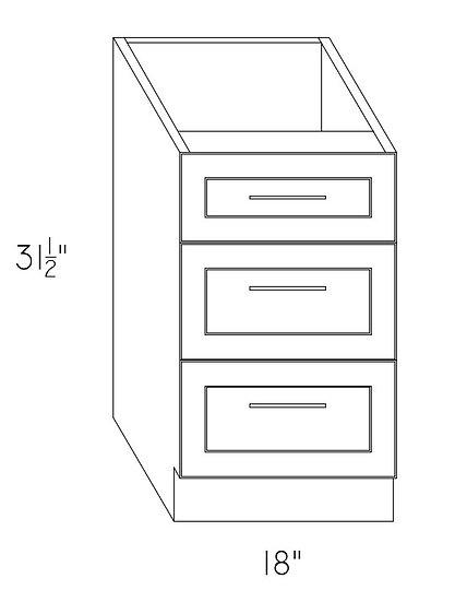 "VD18-3 Vanity Cabinet 18"" w/3 Drawers"