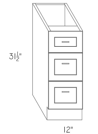 "VD12-3 Vanity Cabinet 12"" w/3 Drawers"